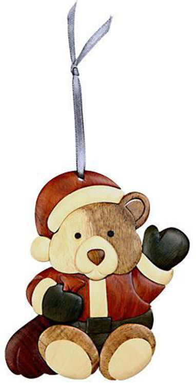 Picture of Santa Bear Intarsia Wood Ornament