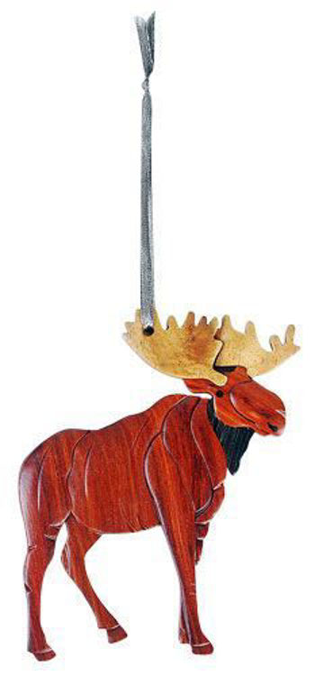 Picture of Standing Moose Intarsia Wood Ornament