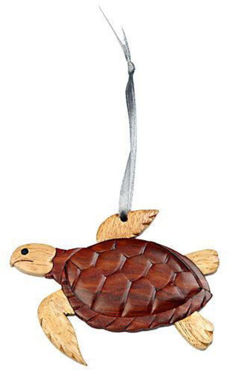 Picture of Turtle Intarsia Wood Ornament