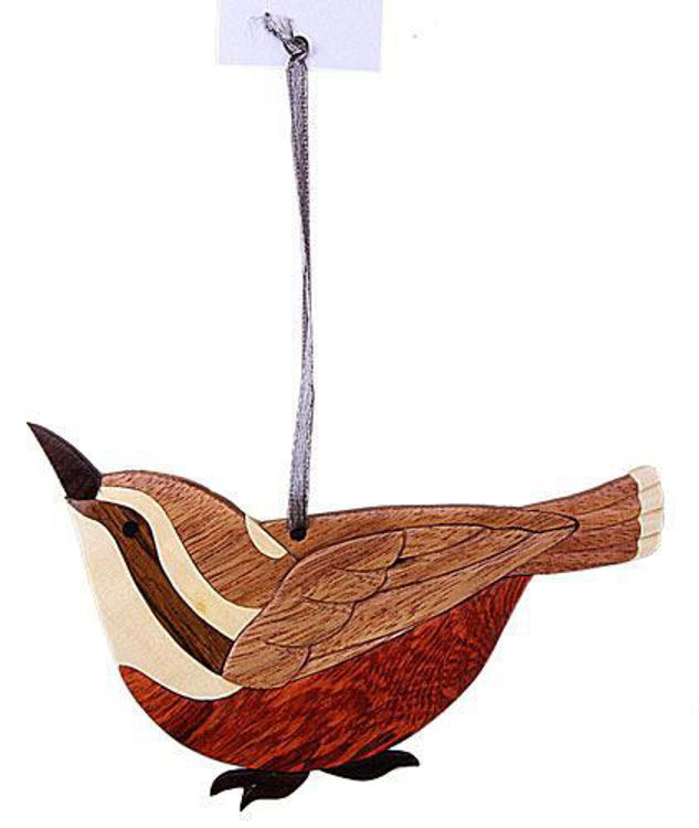 Picture of Wren Intarsia Wood Ornament