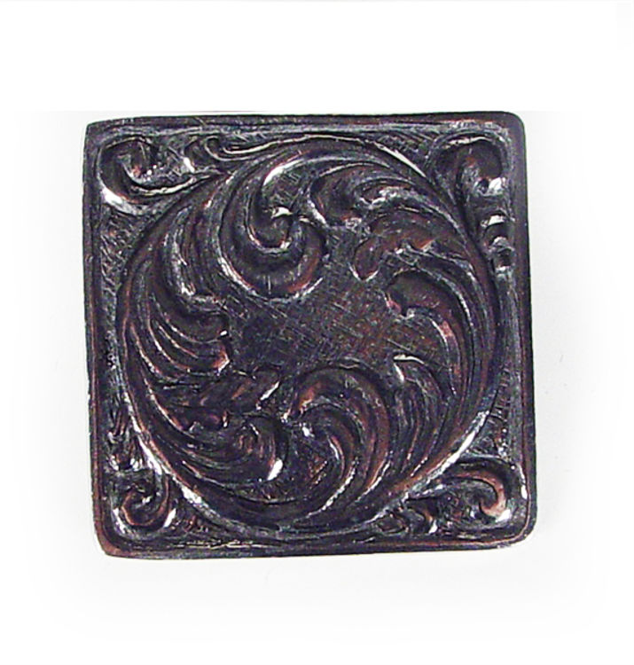 Picture of Square Pewter Pin Rosemaling design