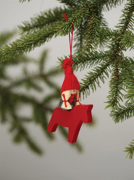 Picture of Dala Horse Ornament w/ Girl