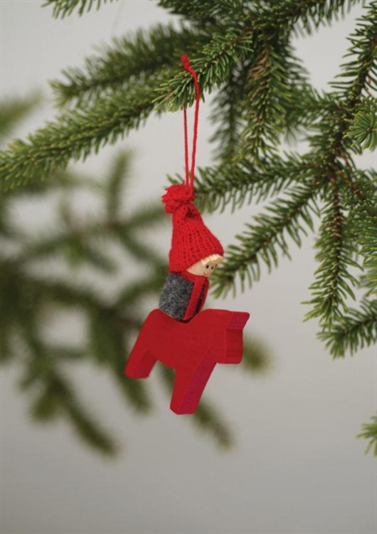 Picture of Dala Horse Ornament w/ boy