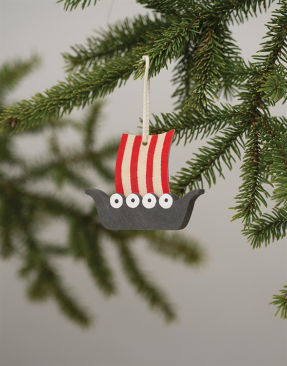 Picture of Wooden Viking Ship Ornament