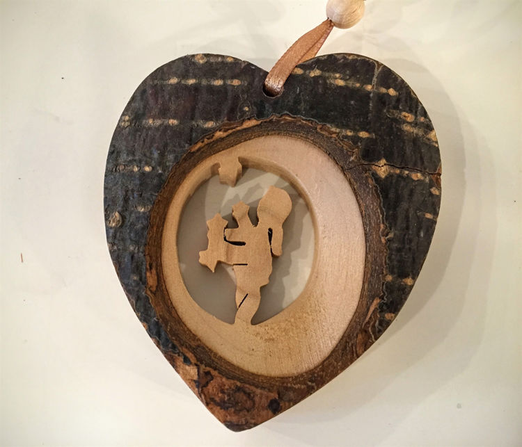 Picture of Wooden Bark Heart Ornaments