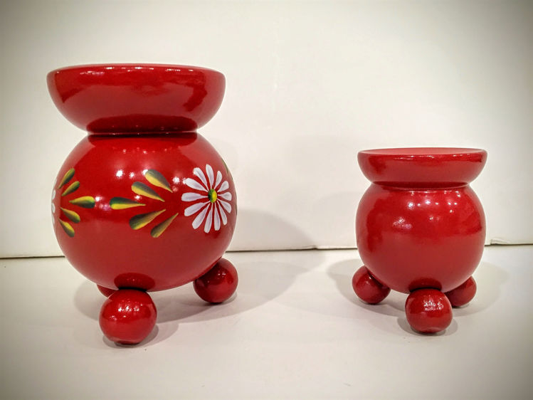 """Picture of Red Wooden """"Tub"""" Candle Holders"""