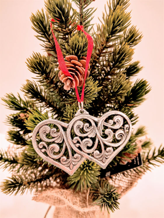 Picture of Norwegian Pewter Double Heart Ornament