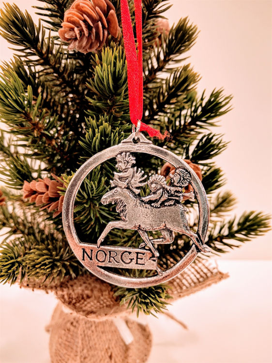 Picture of Norwegian Pewter Moose w Trolls Ornament