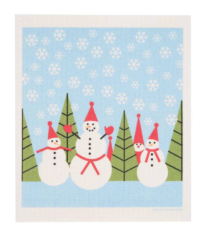 "Picture of Swedish Dishcloth ""Snowmen in Snow"""