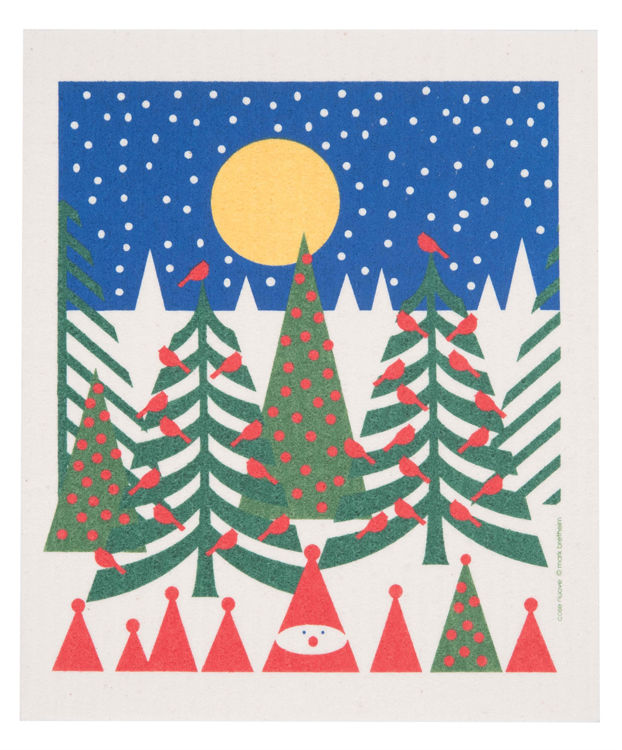 """Picture of Swedish Dishcloth """"Trees/Tomtes/Moon"""""""