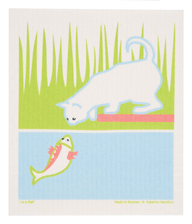 "Picture of Swedish Dishcloth ""8159"" Cat & Fish"