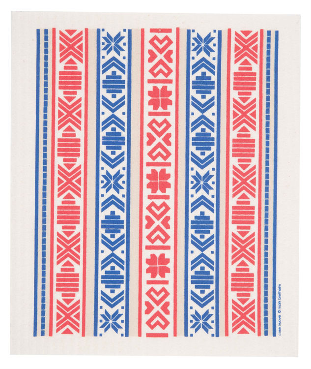"Picture of Swedish Dishcloth ""Red & Blue Ribbon"""