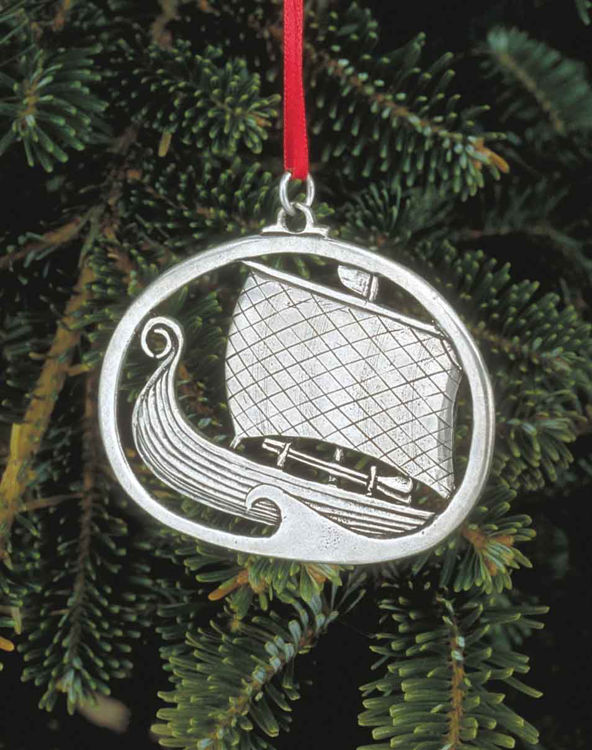 Picture of Norwegian Pewter Viking Ship Ornament