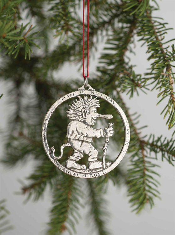 Picture of Norwegian Pewter Walking Troll Ornament