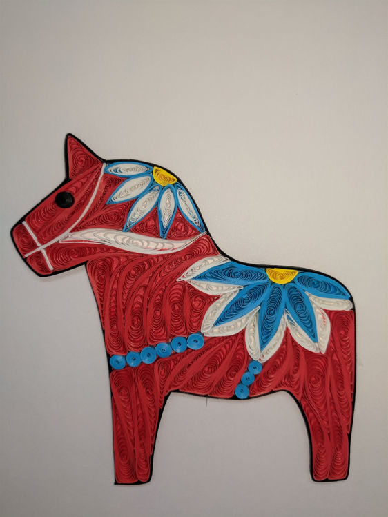 Picture of Dala Horse Quilling Card, Red