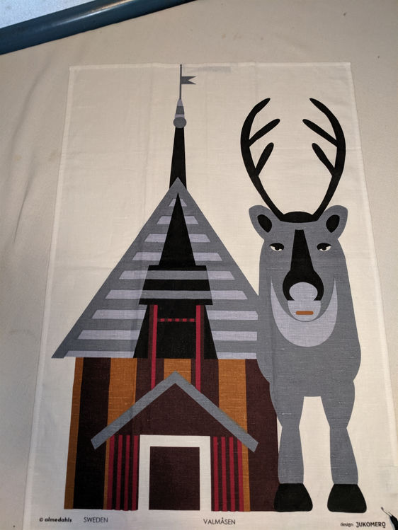 Picture of Kitchen Dish Towel, Reindeer & Church