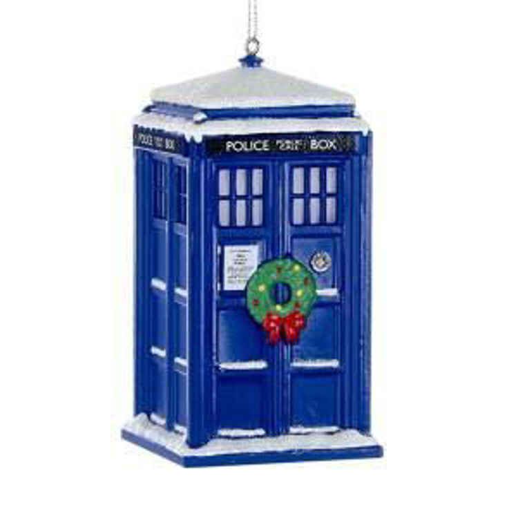 Picture of Doctor Who™ TARDIS with wreath ornament