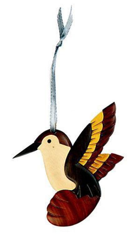 Picture of Hummingbird Intarsia Wood Ornament