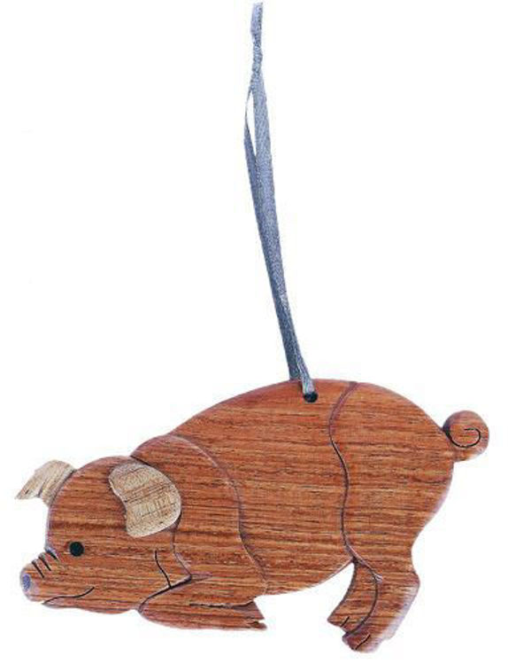 Picture of Pig Intarsia Wood Ornament