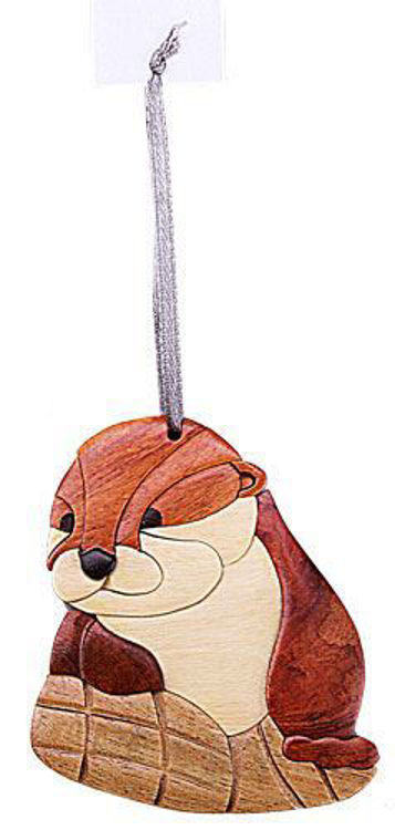 Picture of River Otter Intarsia Wood Ornament