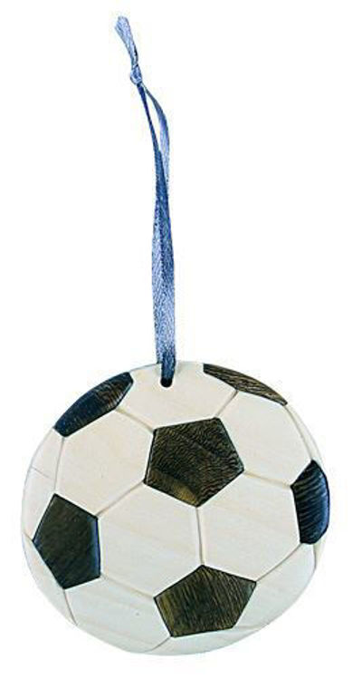 Picture of Soccer Ball Intarsia Wood Ornament