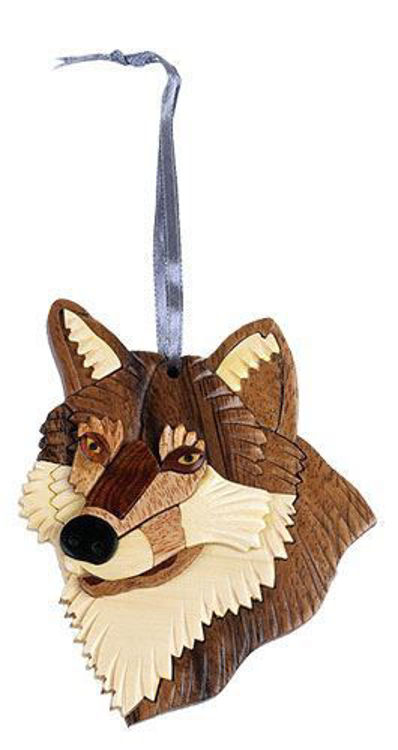 Picture of Wolf Intarsia Wood Ornament
