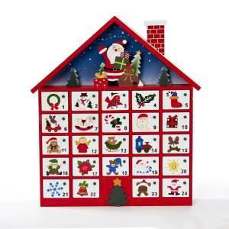 Picture of Wooden Santa with House Scene