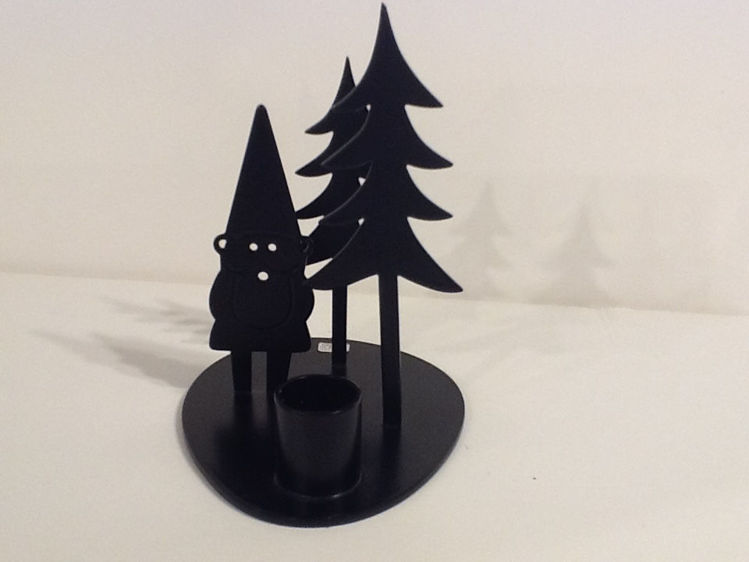 Picture of Pluto Candle Stand, Black Metal